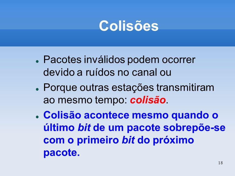 18 Colisões Pacotes inválidos podem ocorrer devido a ruídos no canal ou Porque outras estações transmitiram ao mesmo tempo: colisão. Colisão acontece