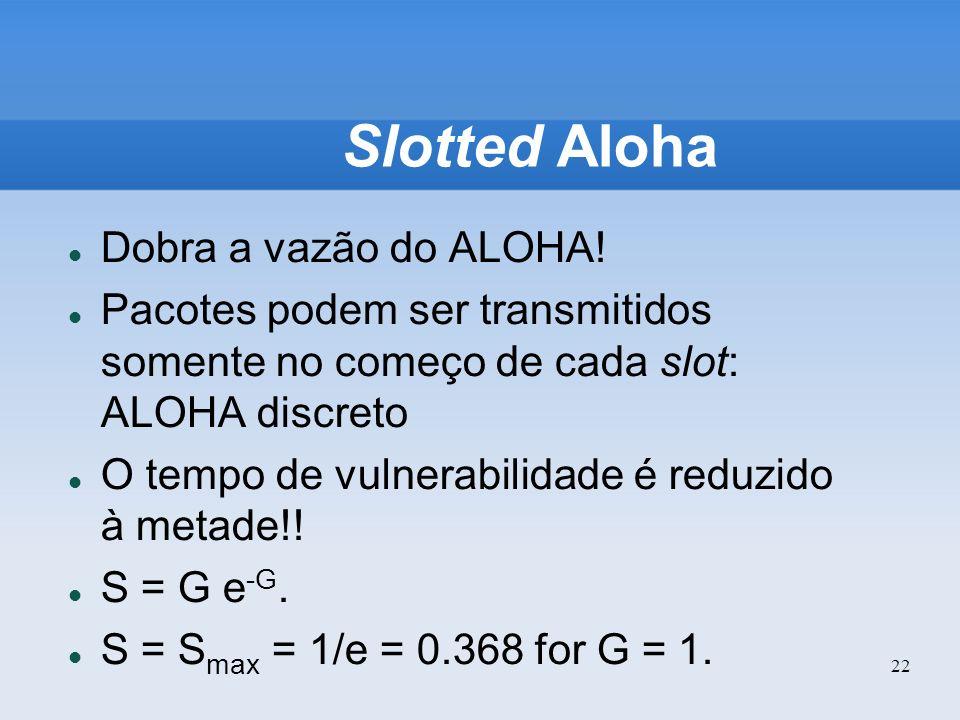 22 Slotted Aloha Dobra a vazão do ALOHA! Pacotes podem ser transmitidos somente no começo de cada slot: ALOHA discreto O tempo de vulnerabilidade é re