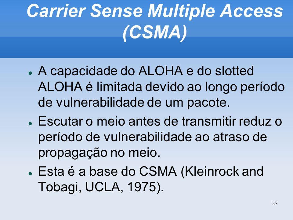 23 Carrier Sense Multiple Access (CSMA) A capacidade do ALOHA e do slotted ALOHA é limitada devido ao longo período de vulnerabilidade de um pacote. E
