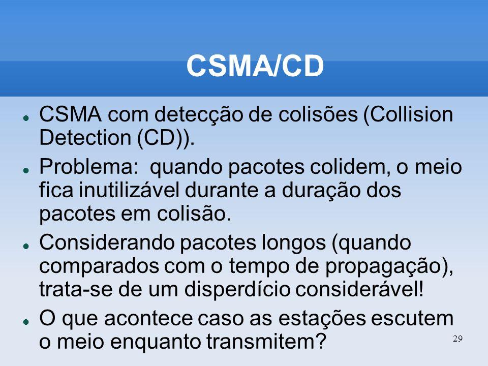 29 CSMA/CD CSMA com detecção de colisões (Collision Detection (CD)). Problema: quando pacotes colidem, o meio fica inutilizável durante a duração dos