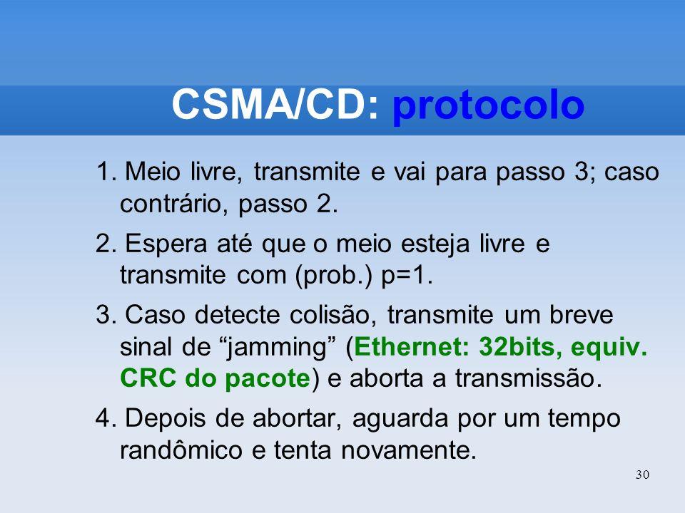 30 CSMA/CD: protocolo 1. Meio livre, transmite e vai para passo 3; caso contrário, passo 2. 2. Espera até que o meio esteja livre e transmite com (pro
