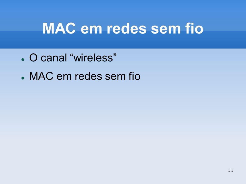 31 MAC em redes sem fio O canal wireless MAC em redes sem fio