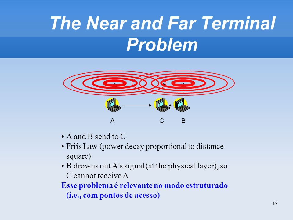 43 The Near and Far Terminal Problem BAC A and B send to C Friis Law (power decay proportional to distance square) B drowns out As signal (at the phys