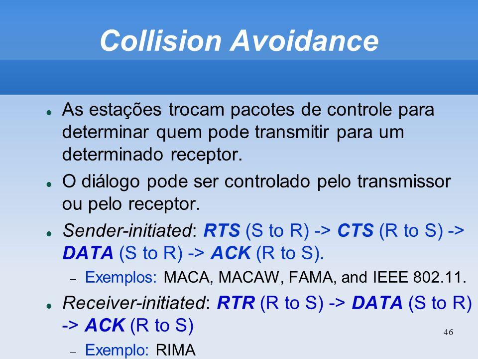 46 Collision Avoidance As estações trocam pacotes de controle para determinar quem pode transmitir para um determinado receptor. O diálogo pode ser co