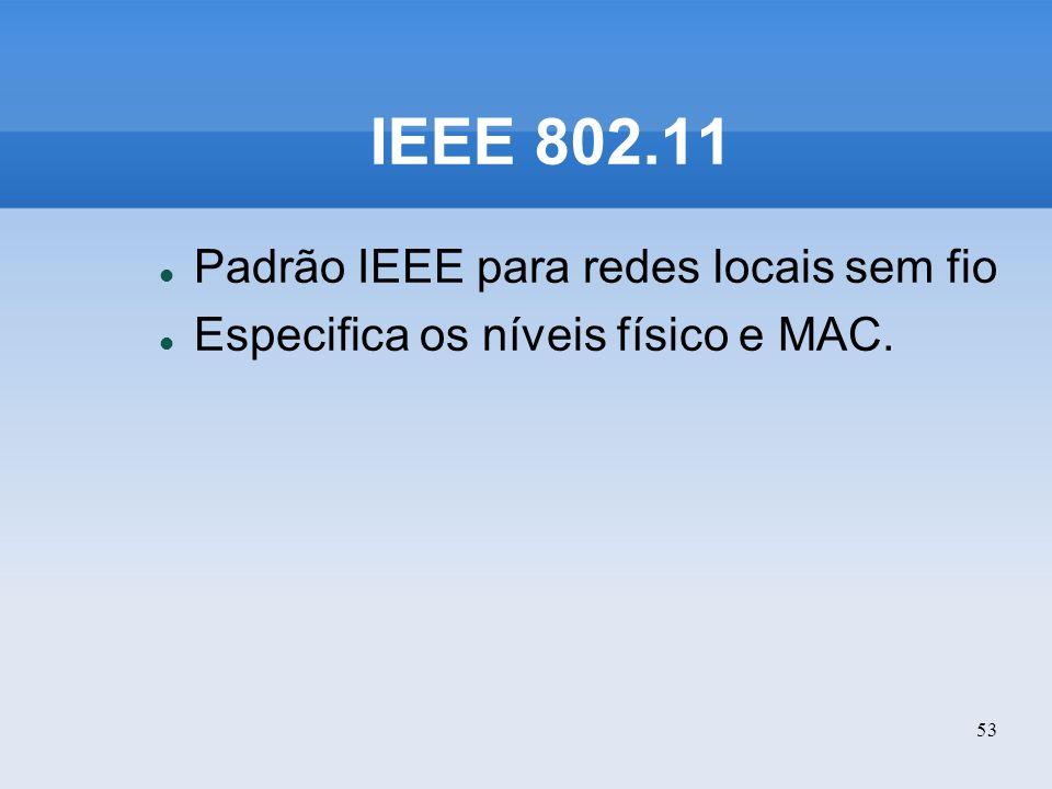53 IEEE 802.11 Padrão IEEE para redes locais sem fio Especifica os níveis físico e MAC.