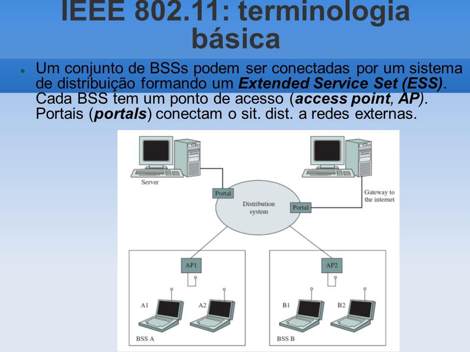 IEEE 802.11: terminologia básica Um conjunto de BSSs podem ser conectadas por um sistema de distribuição formando um Extended Service Set (ESS). Cada