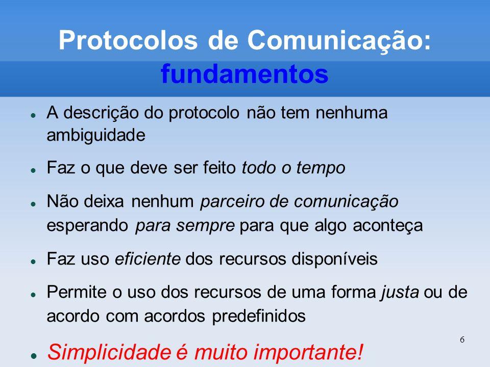 6 Protocolos de Comunicação: fundamentos A descrição do protocolo não tem nenhuma ambiguidade Faz o que deve ser feito todo o tempo Não deixa nenhum p