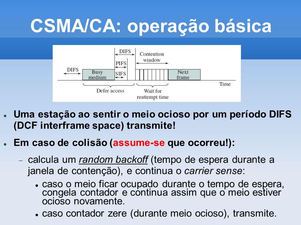 CSMA/CA: operação básica Uma estação ao sentir o meio ocioso por um período DIFS (DCF interframe space) transmite! Em caso de colisão (assume-se que o
