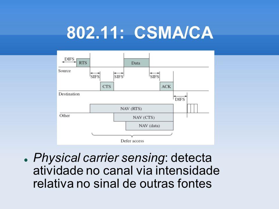 802.11: CSMA/CA Physical carrier sensing: detecta atividade no canal via intensidade relativa no sinal de outras fontes