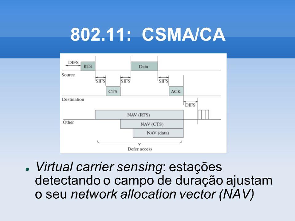 802.11: CSMA/CA Virtual carrier sensing: estações detectando o campo de duração ajustam o seu network allocation vector (NAV)