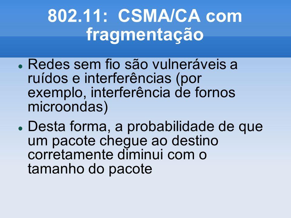 802.11: CSMA/CA com fragmentação Redes sem fio são vulneráveis a ruídos e interferências (por exemplo, interferência de fornos microondas) Desta forma