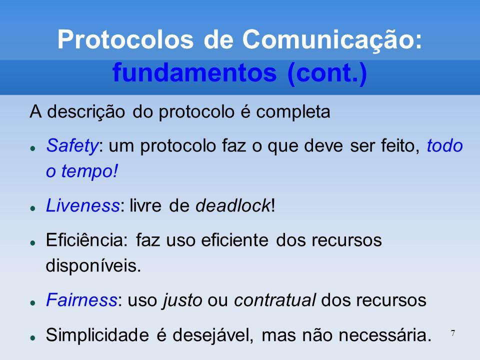 7 Protocolos de Comunicação: fundamentos (cont.) A descrição do protocolo é completa Safety: um protocolo faz o que deve ser feito, todo o tempo! Live