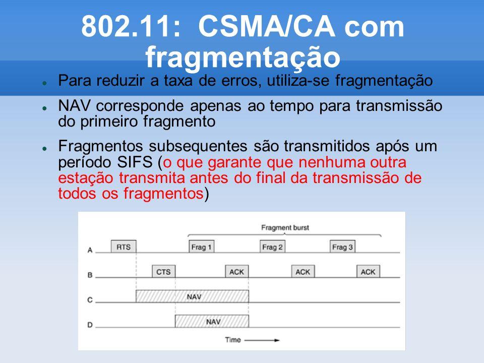 802.11: CSMA/CA com fragmentação Para reduzir a taxa de erros, utiliza-se fragmentação NAV corresponde apenas ao tempo para transmissão do primeiro fr