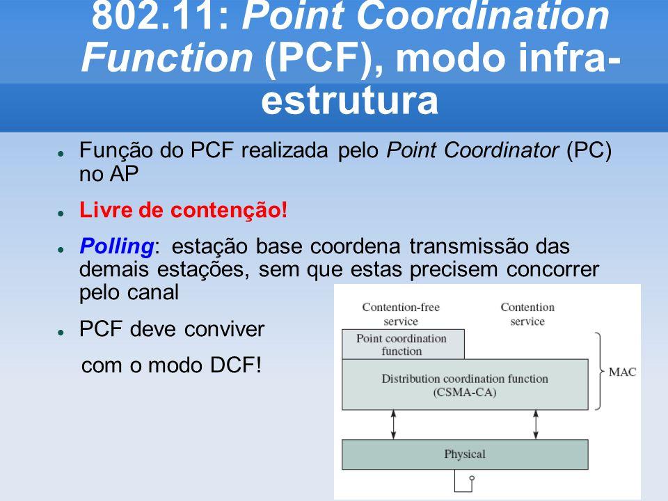 802.11: Point Coordination Function (PCF), modo infra- estrutura Função do PCF realizada pelo Point Coordinator (PC) no AP Livre de contenção! Polling
