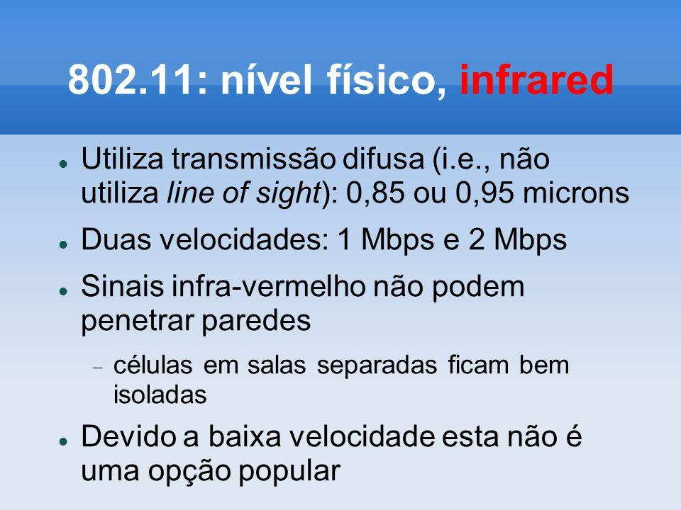 802.11: nível físico, infrared Utiliza transmissão difusa (i.e., não utiliza line of sight): 0,85 ou 0,95 microns Duas velocidades: 1 Mbps e 2 Mbps Si