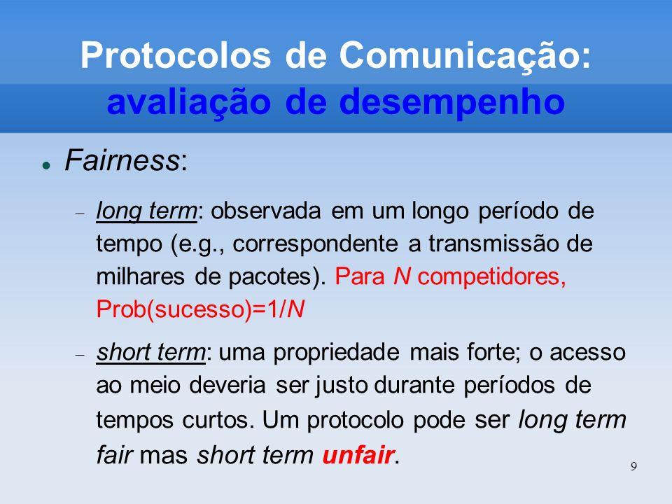 9 Protocolos de Comunicação: avaliação de desempenho Fairness: long term: observada em um longo período de tempo (e.g., correspondente a transmissão d
