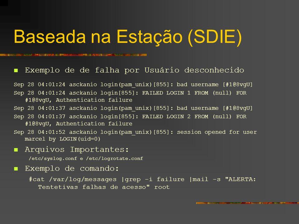 Baseada na Estação (SDIE) Exemplo de de falha por Usuário desconhecido Sep 28 04:01:24 asckanio login(pam_unix)[855]: bad username [#1@8vgU] Sep 28 04