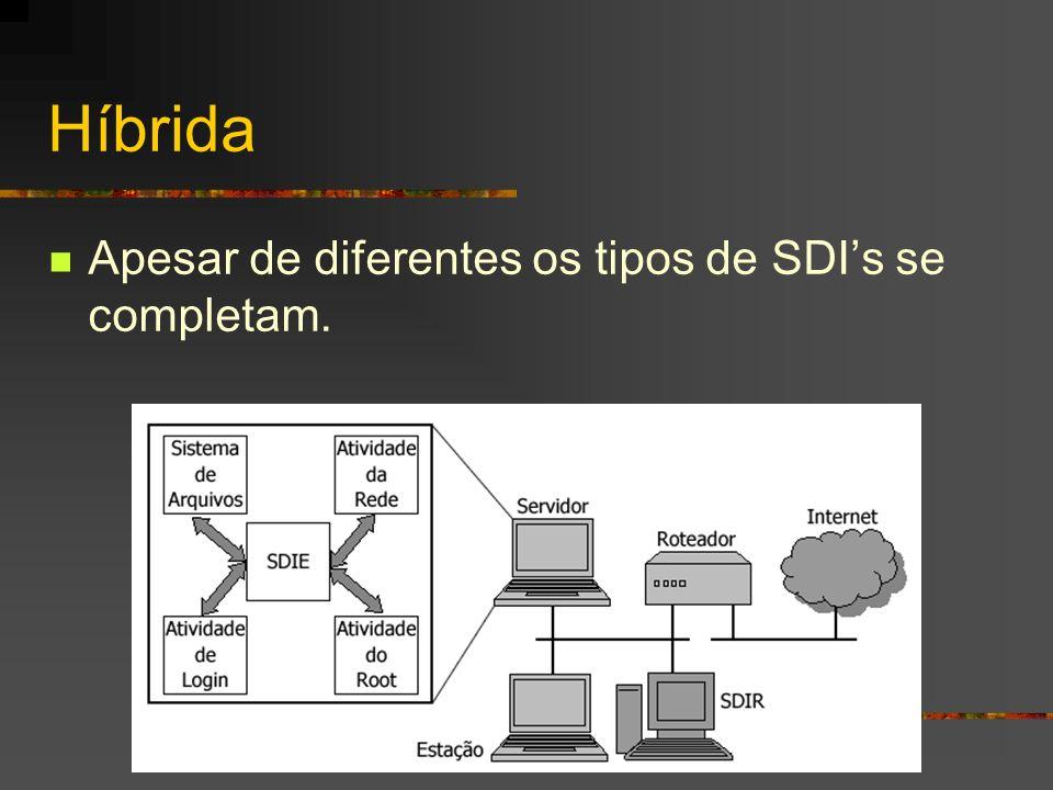 Híbrida Apesar de diferentes os tipos de SDIs se completam.