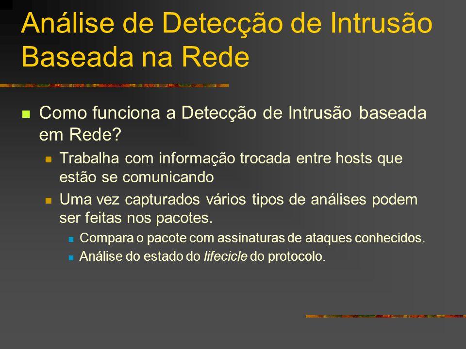 Análise de Detecção de Intrusão Baseada na Rede Como funciona a Detecção de Intrusão baseada em Rede? Trabalha com informação trocada entre hosts que