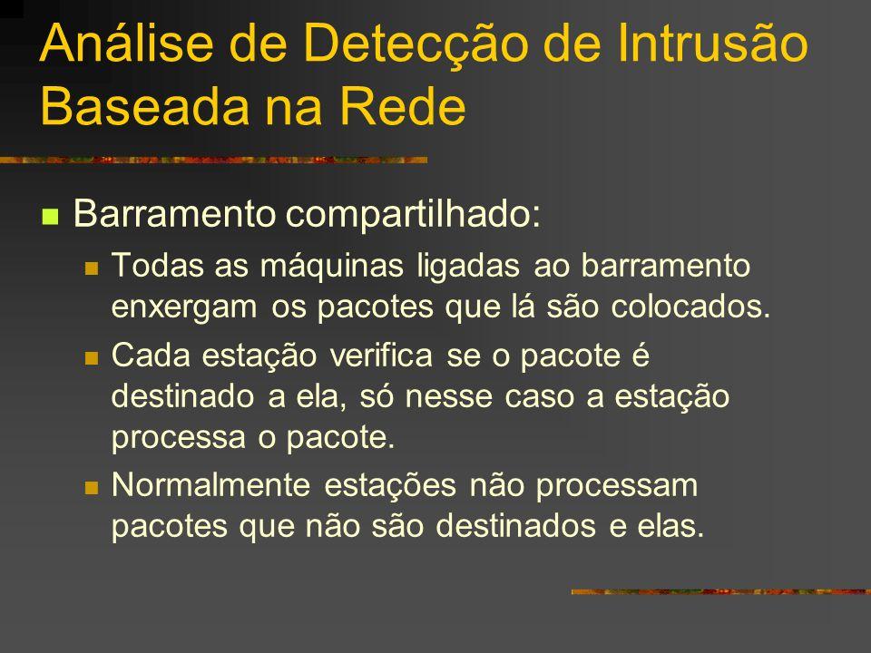 Análise de Detecção de Intrusão Baseada na Rede Barramento compartilhado: Todas as máquinas ligadas ao barramento enxergam os pacotes que lá são coloc