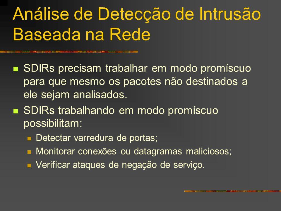 Análise de Detecção de Intrusão Baseada na Rede SDIRs precisam trabalhar em modo promíscuo para que mesmo os pacotes não destinados a ele sejam analis
