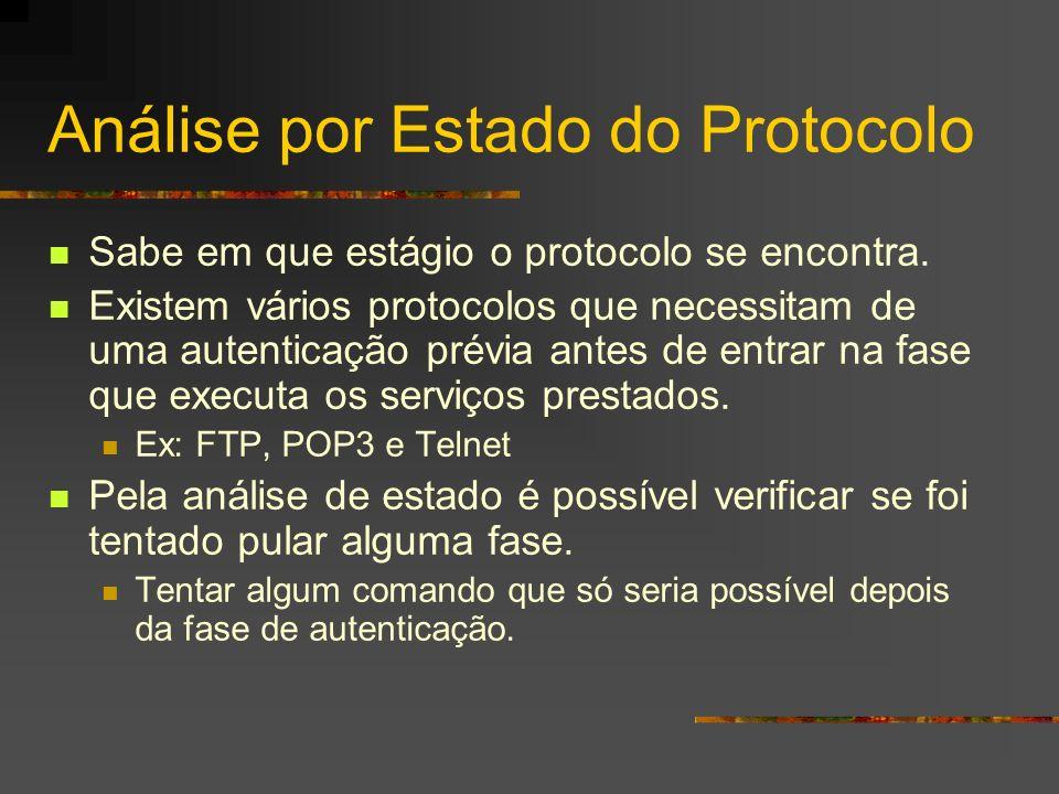 Análise por Estado do Protocolo Sabe em que estágio o protocolo se encontra. Existem vários protocolos que necessitam de uma autenticação prévia antes