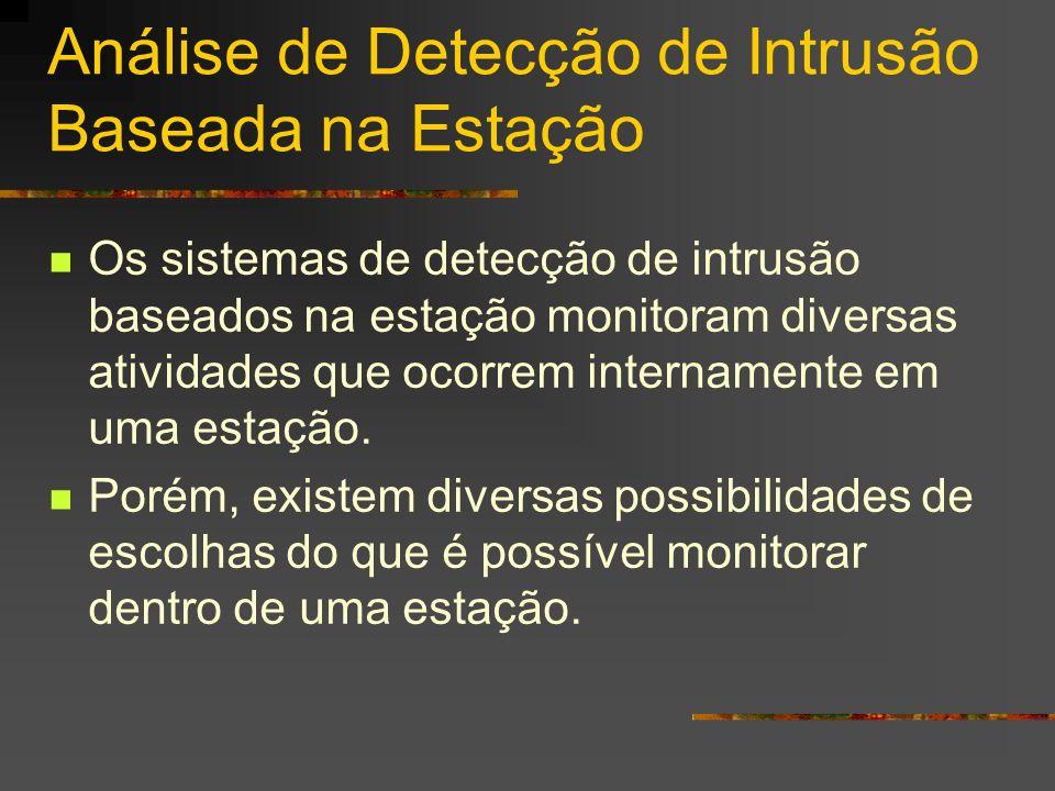 Análise de Detecção de Intrusão Baseada na Estação Os sistemas de detecção de intrusão baseados na estação monitoram diversas atividades que ocorrem i