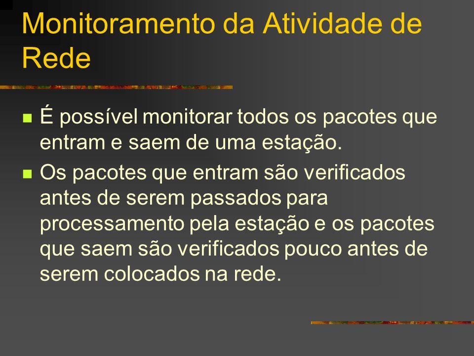 Monitoramento da Atividade de Rede É possível monitorar todos os pacotes que entram e saem de uma estação. Os pacotes que entram são verificados antes