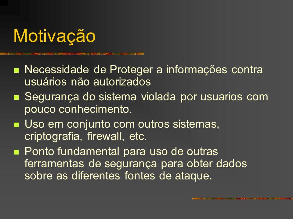 Motivação Necessidade de Proteger a informações contra usuários não autorizados Segurança do sistema violada por usuarios com pouco conhecimento. Uso