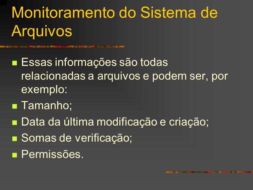Monitoramento do Sistema de Arquivos Essas informações são todas relacionadas a arquivos e podem ser, por exemplo: Tamanho; Data da última modificação