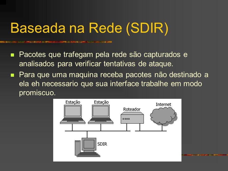 Baseada na Rede (SDIR) Pacotes que trafegam pela rede são capturados e analisados para verificar tentativas de ataque. Para que uma maquina receba pac