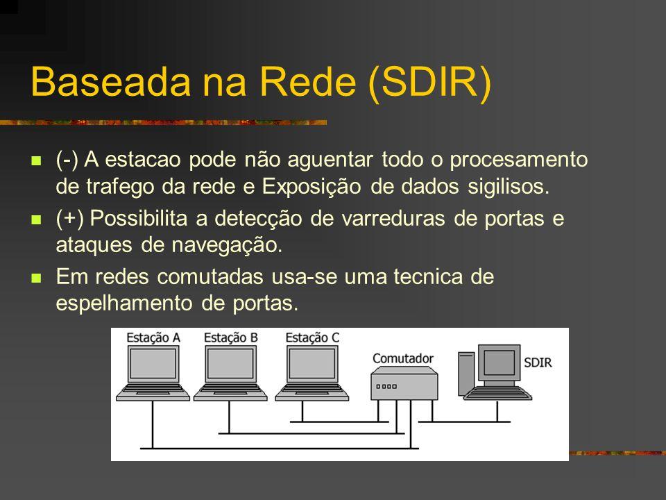 Baseada na Rede (SDIR) (-) A estacao pode não aguentar todo o procesamento de trafego da rede e Exposição de dados sigilisos. (+) Possibilita a detecç