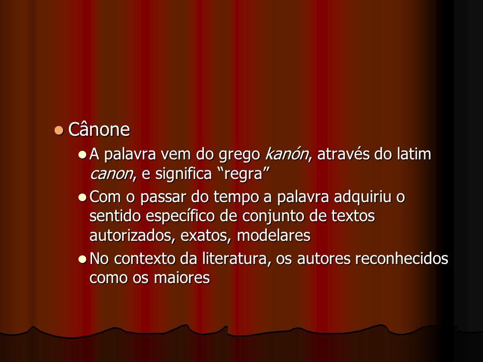 Cânone Cânone A palavra vem do grego kanón, através do latim canon, e significa regra A palavra vem do grego kanón, através do latim canon, e signific