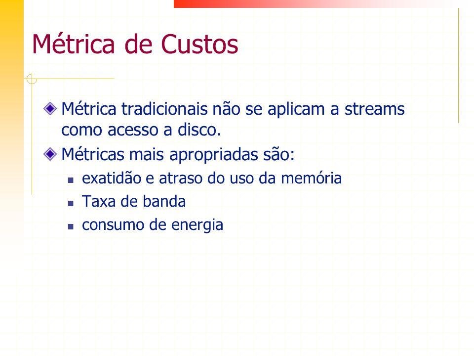 Métrica de Custos Métrica tradicionais não se aplicam a streams como acesso a disco. Métricas mais apropriadas são: exatidão e atraso do uso da memóri