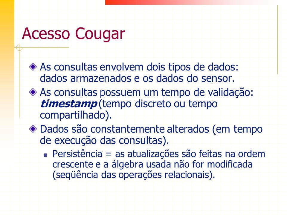 Acesso Cougar As consultas envolvem dois tipos de dados: dados armazenados e os dados do sensor. As consultas possuem um tempo de validação: timestamp