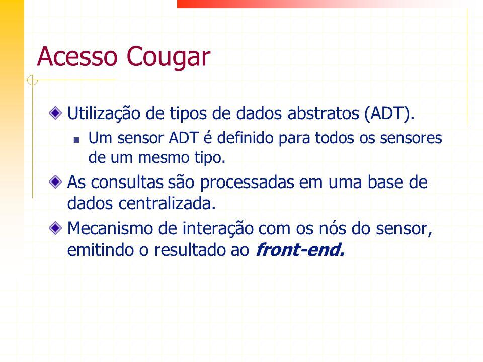 Acesso Cougar Utilização de tipos de dados abstratos (ADT). Um sensor ADT é definido para todos os sensores de um mesmo tipo. As consultas são process