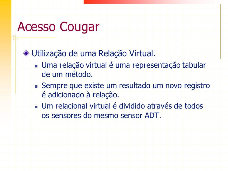 Acesso Cougar Utilização de uma Relação Virtual. Uma relação virtual é uma representação tabular de um método. Sempre que existe um resultado um novo
