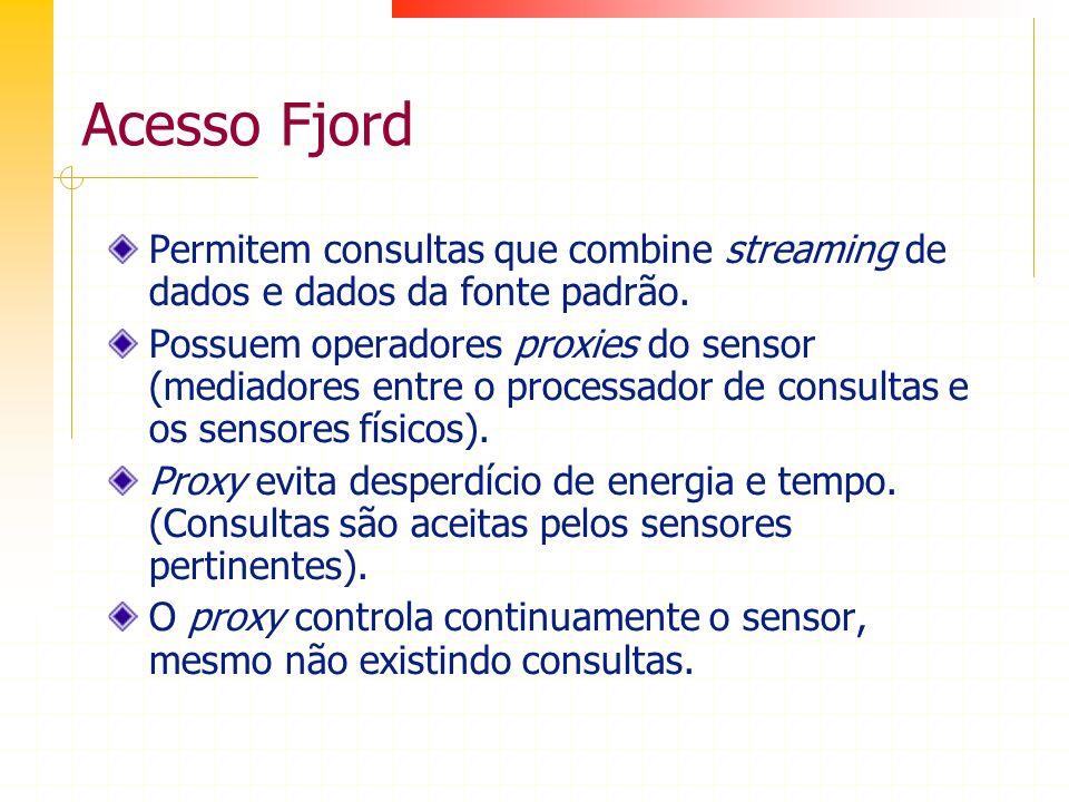 Acesso Fjord Permitem consultas que combine streaming de dados e dados da fonte padrão. Possuem operadores proxies do sensor (mediadores entre o proce