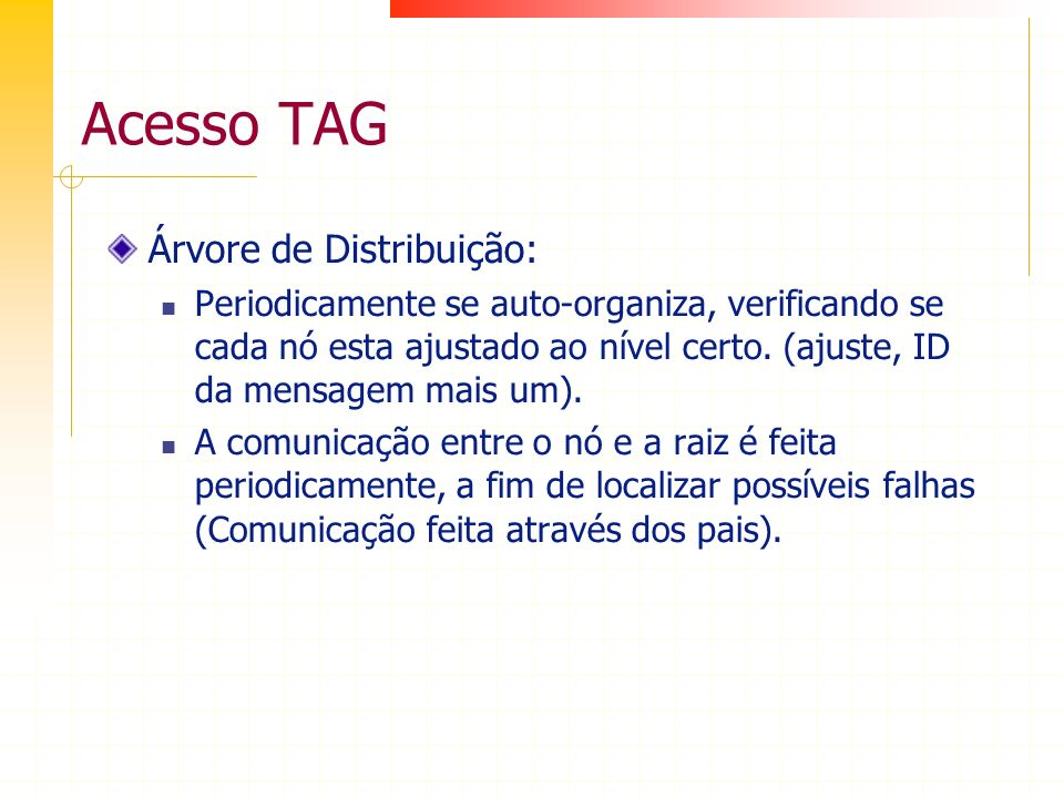 Acesso TAG Árvore de Distribuição: Periodicamente se auto-organiza, verificando se cada nó esta ajustado ao nível certo. (ajuste, ID da mensagem mais