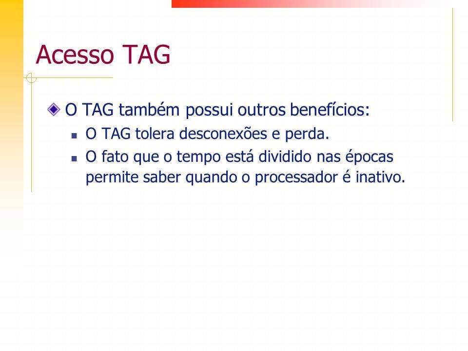 Acesso TAG O TAG também possui outros benefícios: O TAG tolera desconexões e perda. O fato que o tempo está dividido nas épocas permite saber quando o