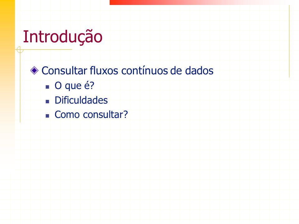 Introdução Consultar fluxos contínuos de dados O que é? Dificuldades Como consultar?
