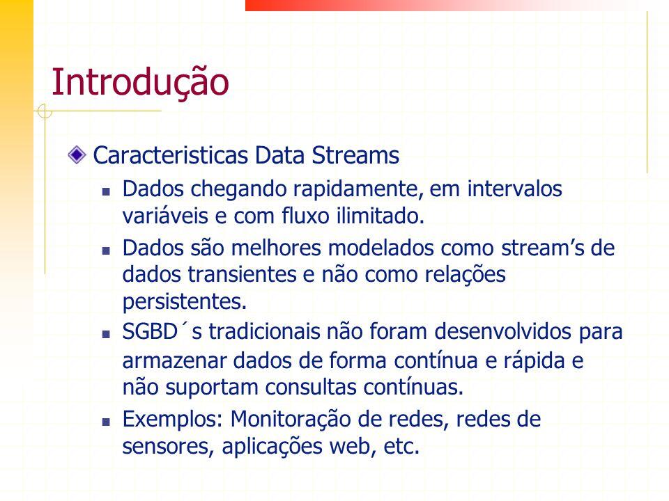 Introdução Caracteristicas Data Streams Dados chegando rapidamente, em intervalos variáveis e com fluxo ilimitado. Dados são melhores modelados como s
