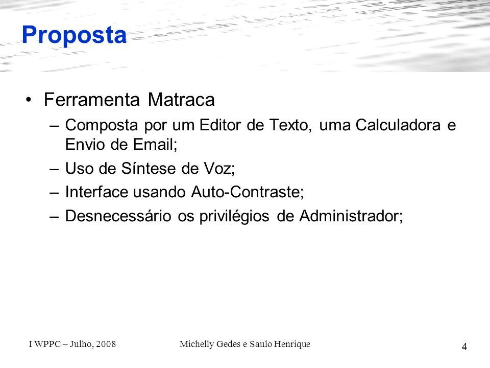 I WPPC – Julho, 2008Michelly Gedes e Saulo Henrique O Projeto Matraca - Estado Atual 15