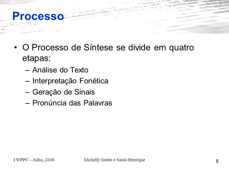 I WPPC – Julho, 2008Michelly Gedes e Saulo Henrique O Projeto Matraca - Estado Atual 19