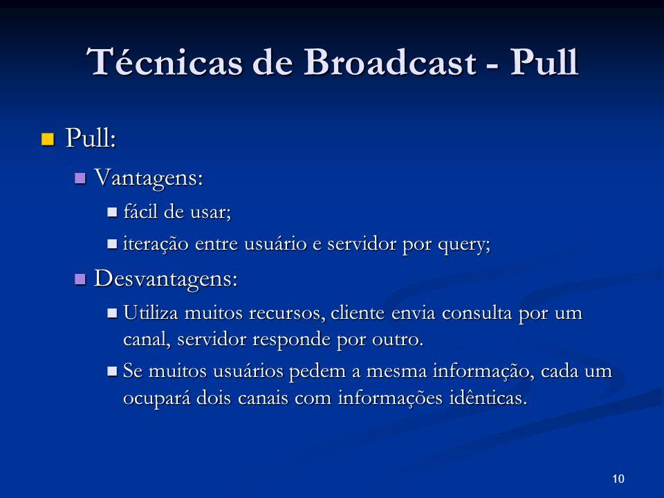 10 Técnicas de Broadcast - Pull Pull: Pull: Vantagens: Vantagens: fácil de usar; fácil de usar; iteração entre usuário e servidor por query; iteração