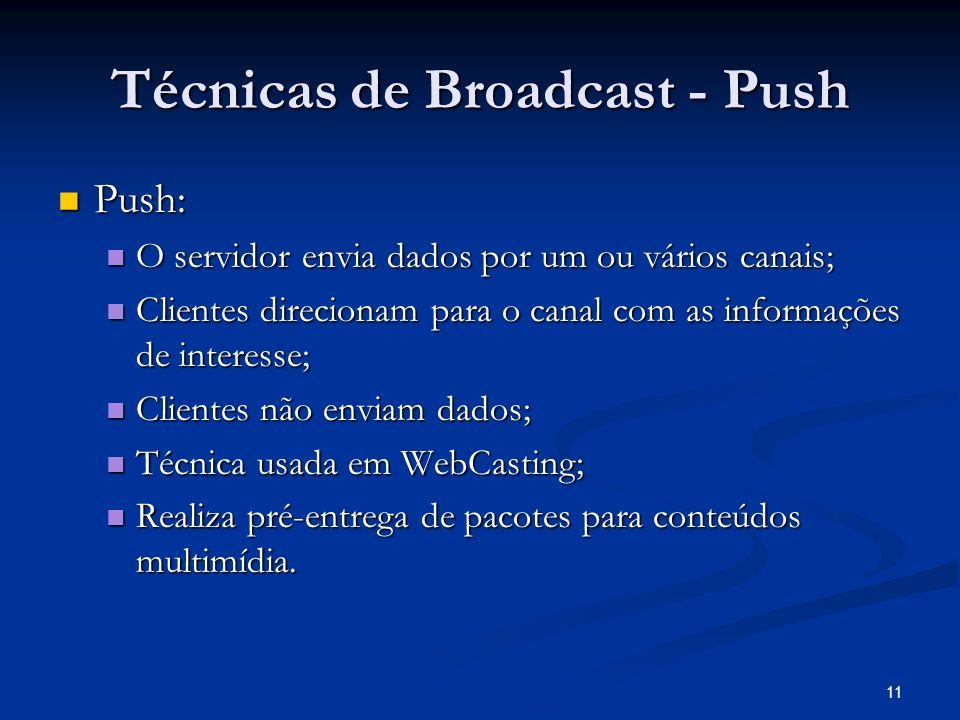 11 Técnicas de Broadcast - Push Push: Push: O servidor envia dados por um ou vários canais; O servidor envia dados por um ou vários canais; Clientes d