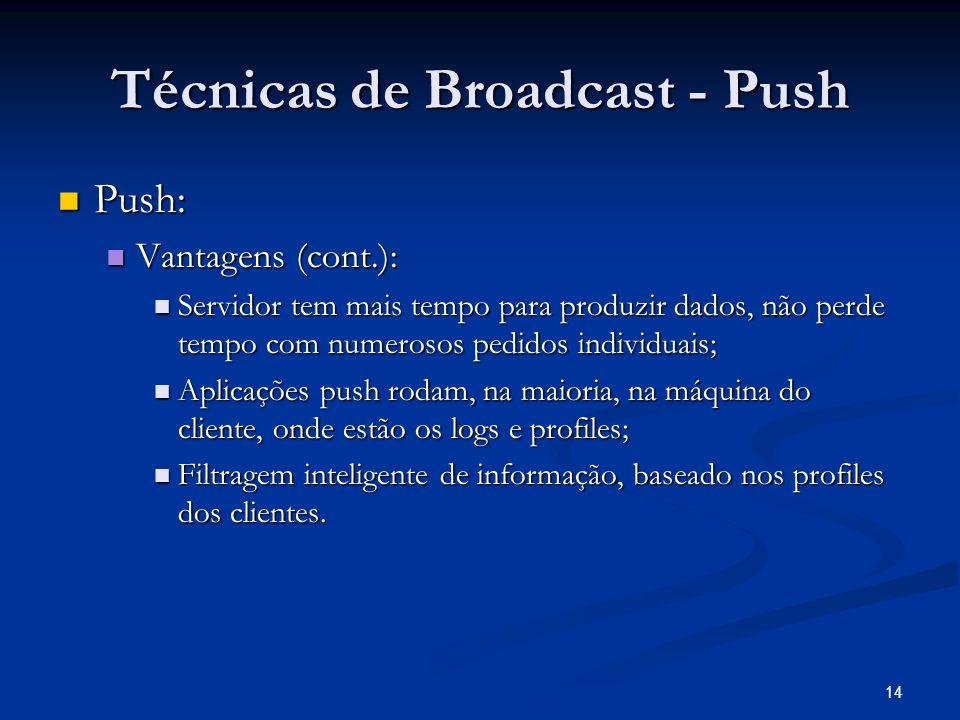 14 Técnicas de Broadcast - Push Push: Push: Vantagens (cont.): Vantagens (cont.): Servidor tem mais tempo para produzir dados, não perde tempo com num