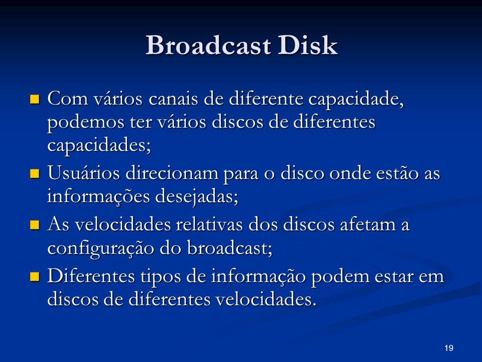 19 Broadcast Disk Com vários canais de diferente capacidade, podemos ter vários discos de diferentes capacidades; Com vários canais de diferente capac
