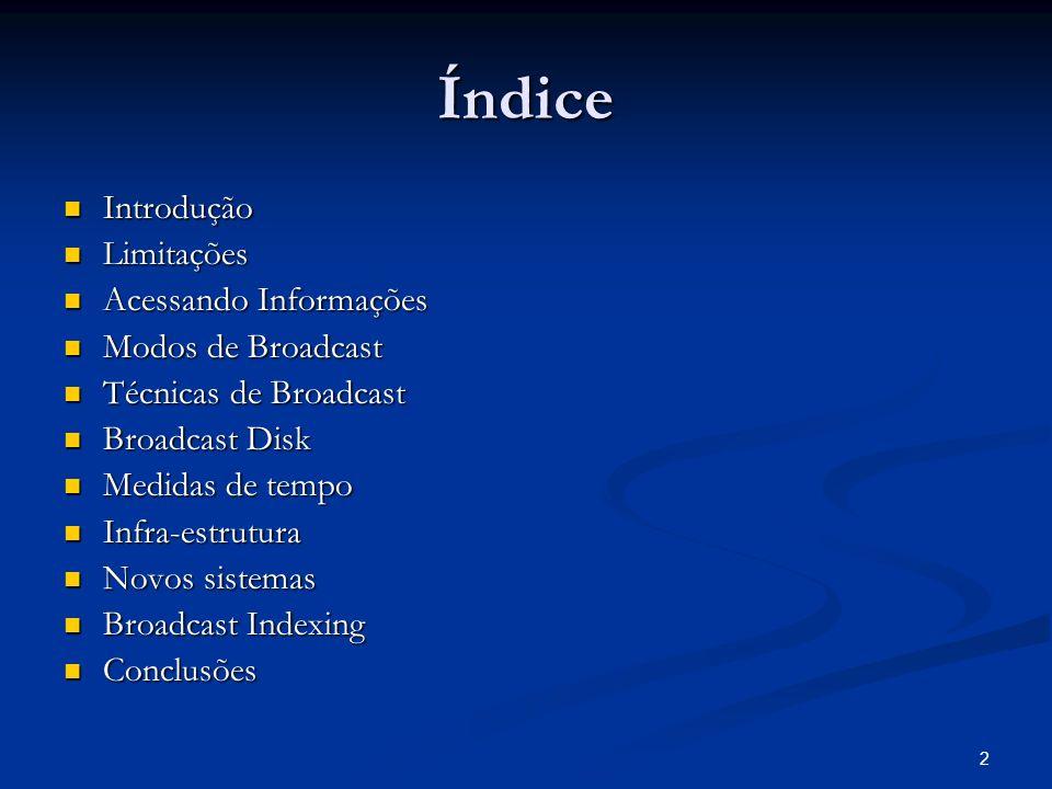 2 Índice Introdução Introdução Limitações Limitações Acessando Informações Acessando Informações Modos de Broadcast Modos de Broadcast Técnicas de Bro