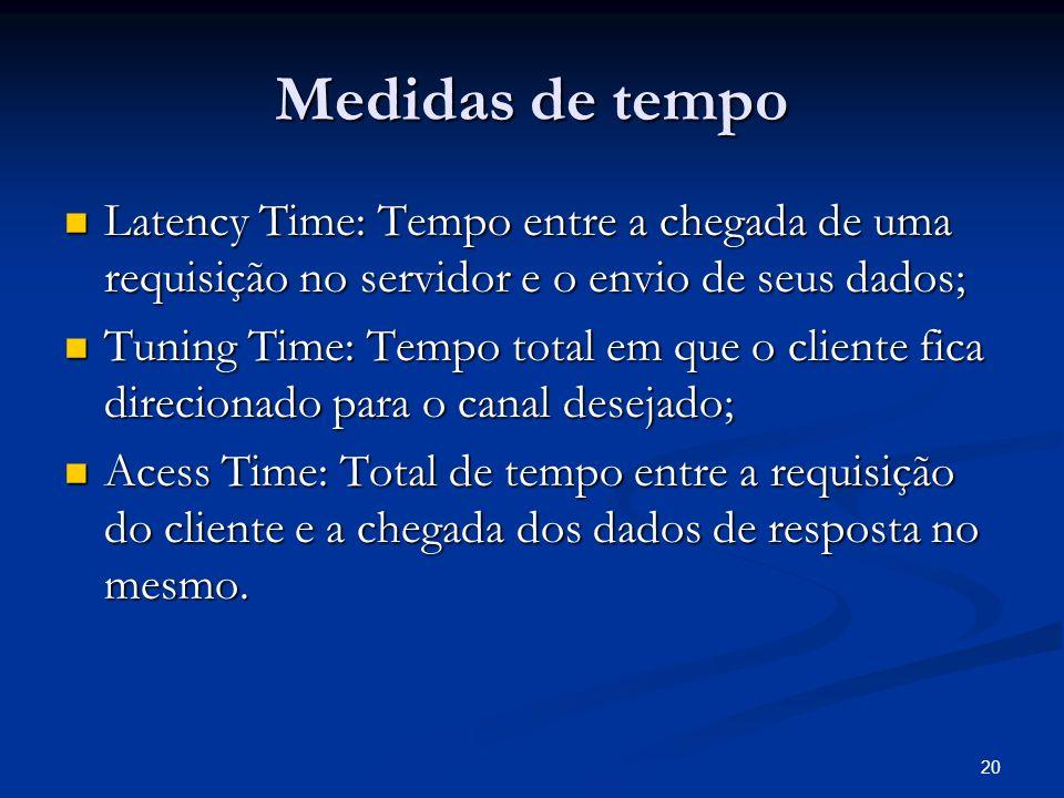 20 Medidas de tempo Latency Time: Tempo entre a chegada de uma requisição no servidor e o envio de seus dados; Latency Time: Tempo entre a chegada de